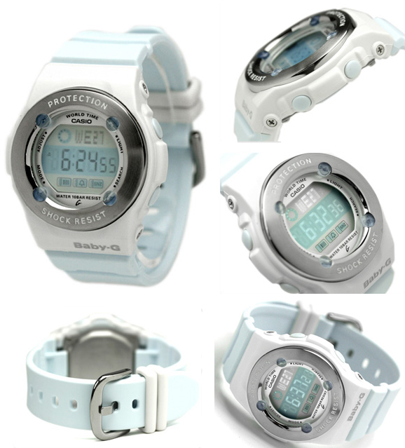 5e2b4c4415302 bg1301-2a.    Cute Casio Baby-G watch design is based on stainless steel  metal parts and gem-like urethane protectors